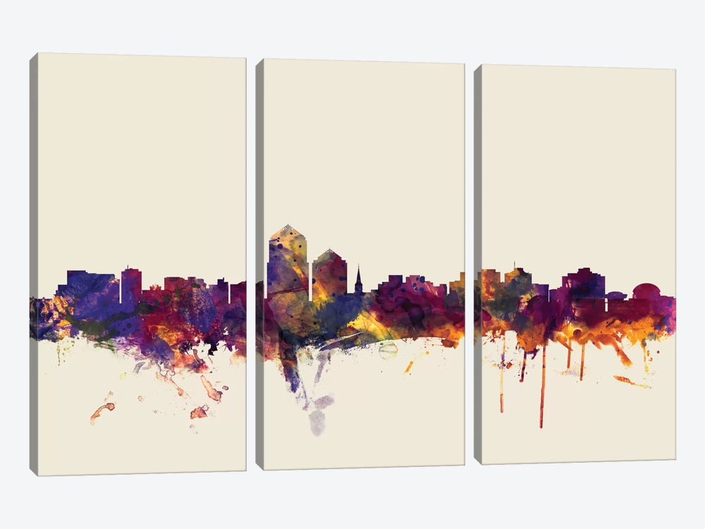 Albuquerque, New Mexico, USA On Beige by Michael Tompsett 3-piece Canvas Wall Art
