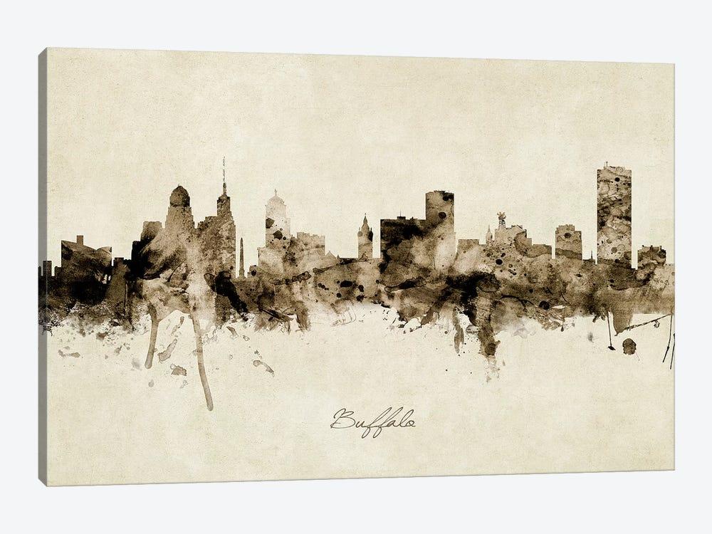 Buffalo New York Skyline by Michael Tompsett 1-piece Canvas Artwork