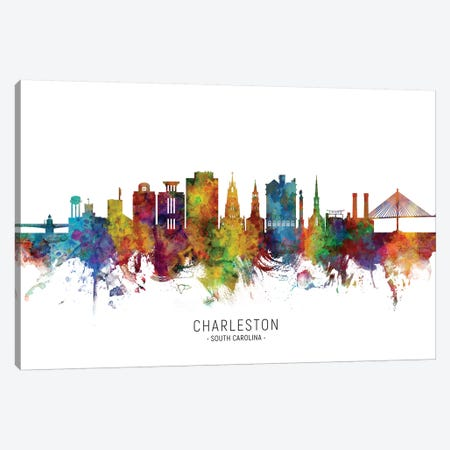 Charleston South Carolina Skyline Canvas Print #MTO1813} by Michael Tompsett Canvas Print