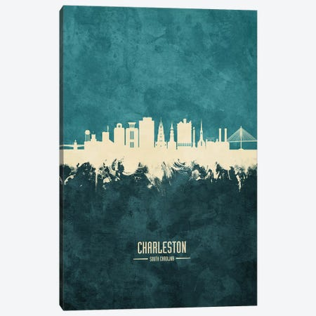 Charleston South Carolina Skyline Canvas Print #MTO1814} by Michael Tompsett Canvas Wall Art