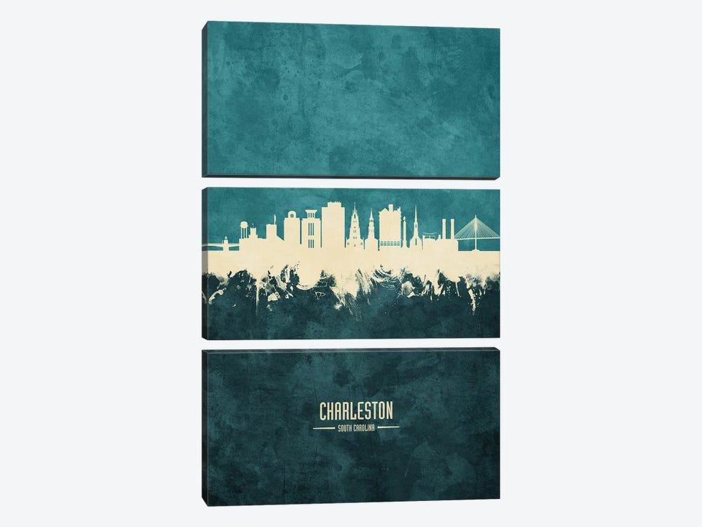 Charleston South Carolina Skyline by Michael Tompsett 3-piece Canvas Print