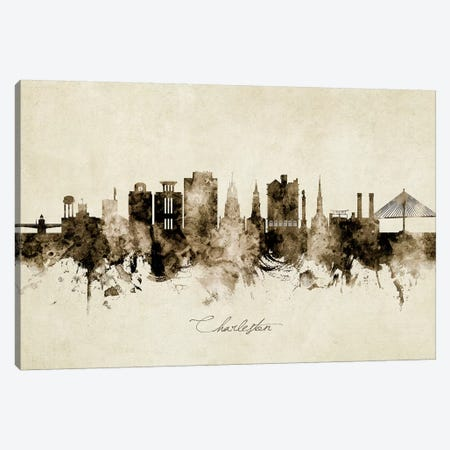 Charleston South Carolina Skyline Canvas Print #MTO1815} by Michael Tompsett Canvas Wall Art