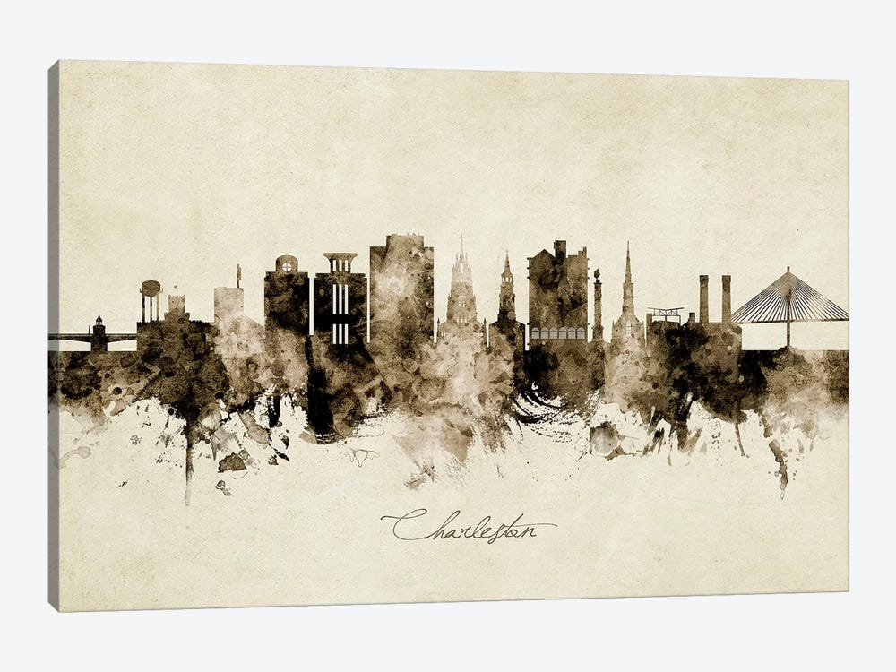 Charleston South Carolina Skyline by Michael Tompsett 1-piece Canvas Artwork