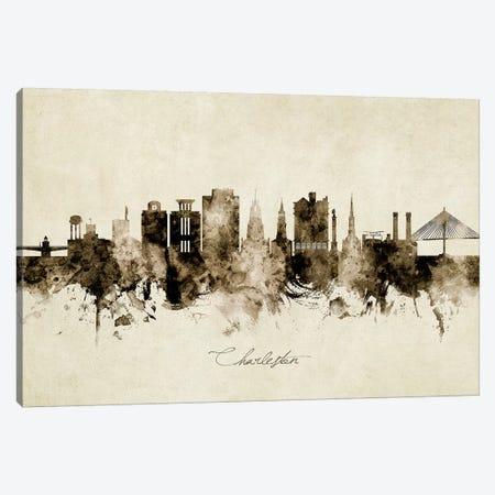 Charleston South Carolina Skyline Canvas Print #MTO1815} by Michael Tompsett Canvas Wall Art