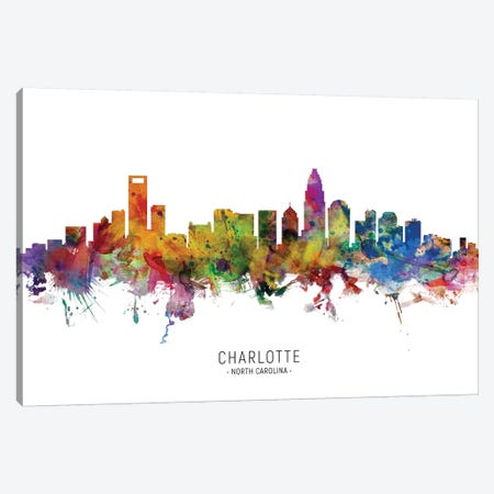 Charlotte North Carolina Skyline 3-Piece Canvas #MTO1817} by Michael Tompsett Canvas Art