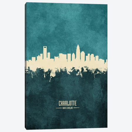 Charlotte North Carolina Skyline Canvas Print #MTO1818} by Michael Tompsett Canvas Art Print