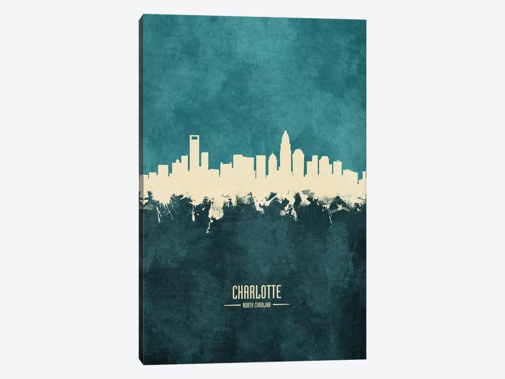Charlotte North Carolina Skyline by Michael Tompsett 1-piece Canvas Print