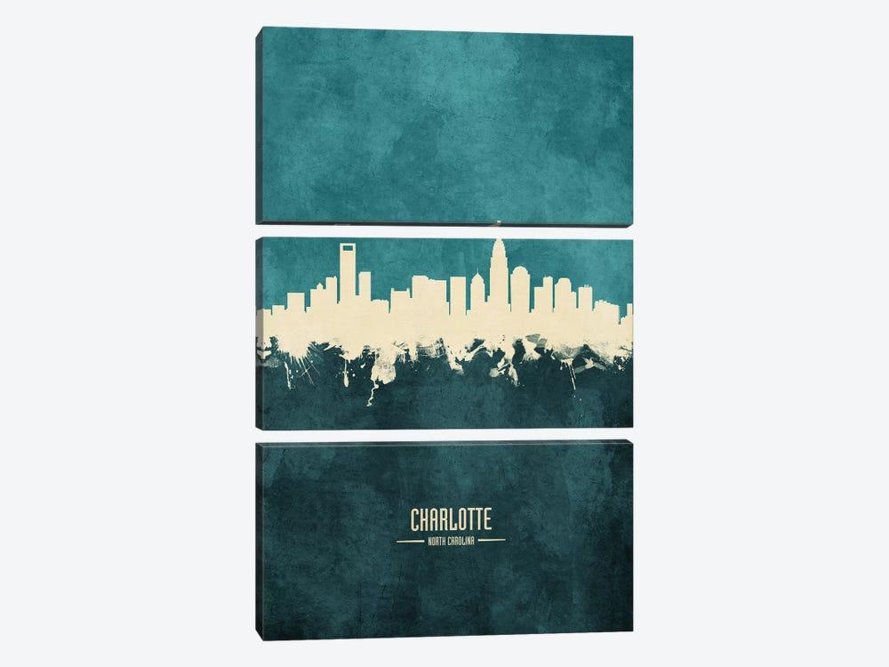 Charlotte North Carolina Skyline by Michael Tompsett 3-piece Art Print
