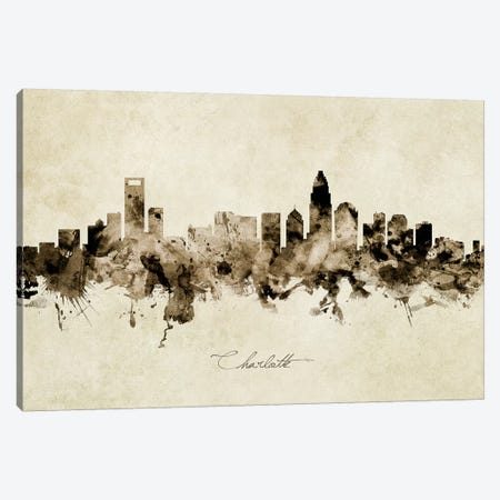 Charlotte North Carolina Skyline 3-Piece Canvas #MTO1819} by Michael Tompsett Art Print