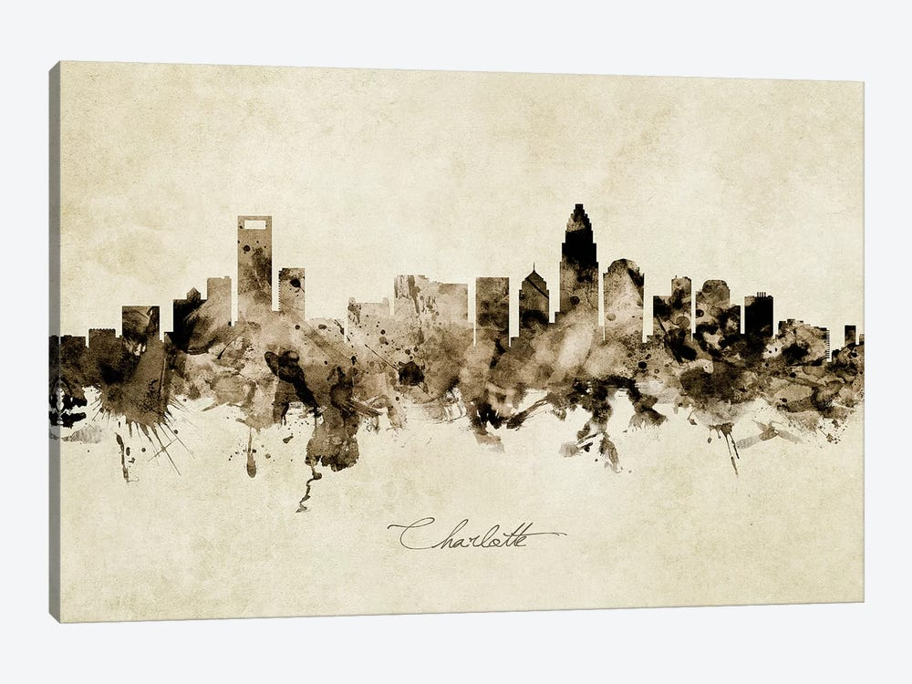 Charlotte North Carolina Skyline by Michael Tompsett 1-piece Canvas Artwork