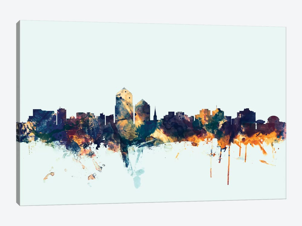 Skyline Series: Albuquerque, New Mexico, USA On Blue by Michael Tompsett 1-piece Art Print