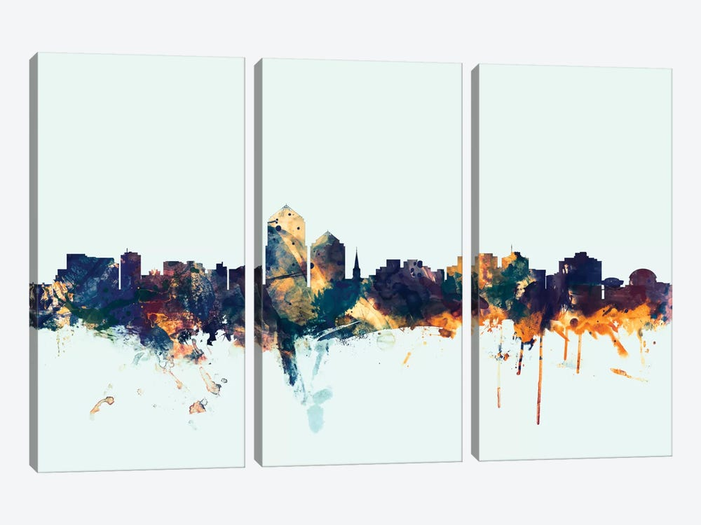 Skyline Series: Albuquerque, New Mexico, USA On Blue by Michael Tompsett 3-piece Canvas Print