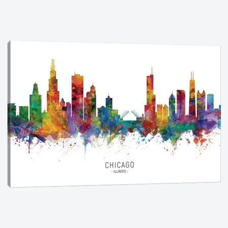 Chicago Illinois Skyline Canvas Print #MTO1822} by Michael Tompsett Canvas Artwork
