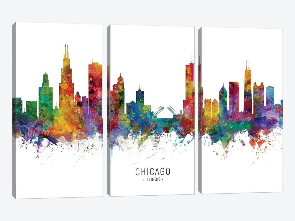 Chicago Illinois Skyline by Michael Tompsett 3-piece Canvas Wall Art