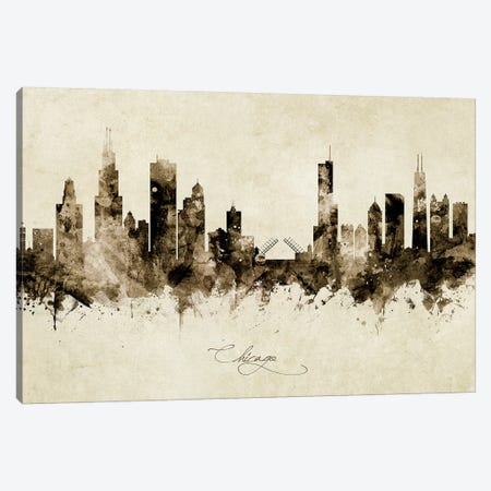 Chicago Illinois Skyline Canvas Print #MTO1823} by Michael Tompsett Canvas Artwork