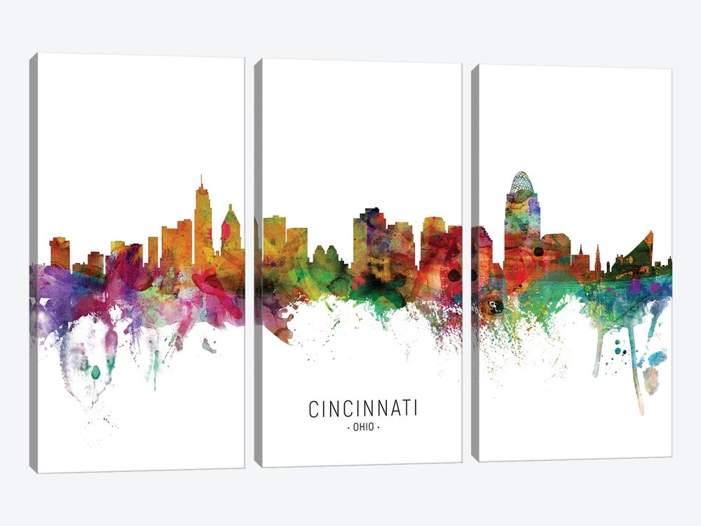 Cincinnati Ohio Skyline by Michael Tompsett 3-piece Canvas Art Print