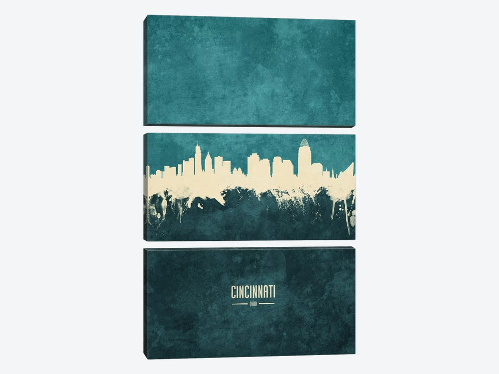 Cincinnati Ohio Skyline by Michael Tompsett 3-piece Canvas Art