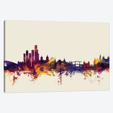 Amsterdam, The Netherlands On Beige Canvas Print #MTO182} by Michael Tompsett Canvas Art