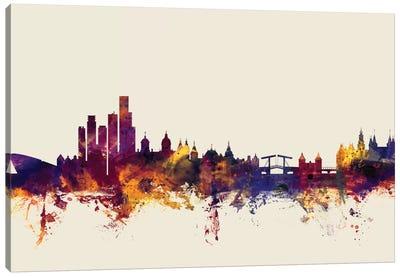 Skyline Series: Amsterdam, The Netherlands On Beige Canvas Print #MTO182