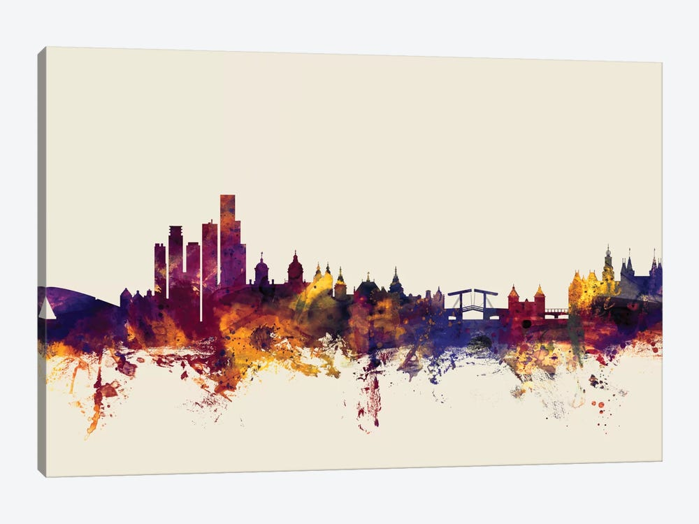 Skyline Series: Amsterdam, The Netherlands On Beige by Michael Tompsett 1-piece Canvas Art