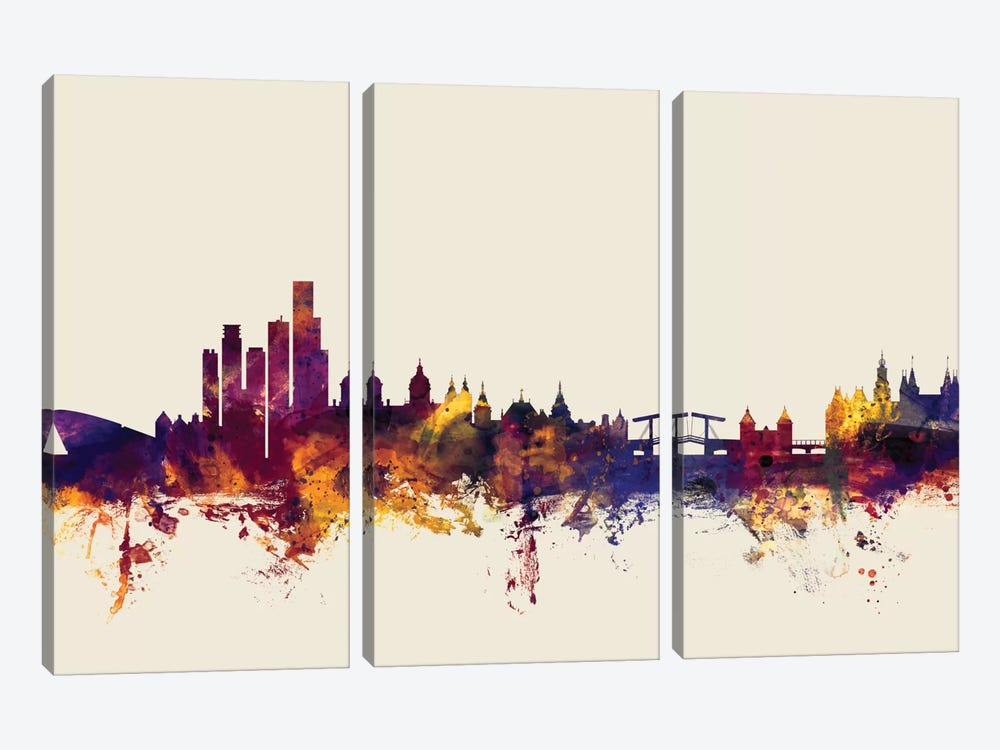 Skyline Series: Amsterdam, The Netherlands On Beige by Michael Tompsett 3-piece Canvas Artwork