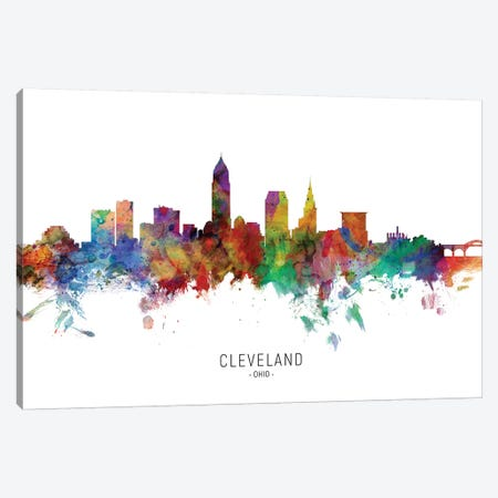 Cleveland Ohio Skyline Canvas Print #MTO1830} by Michael Tompsett Canvas Art Print