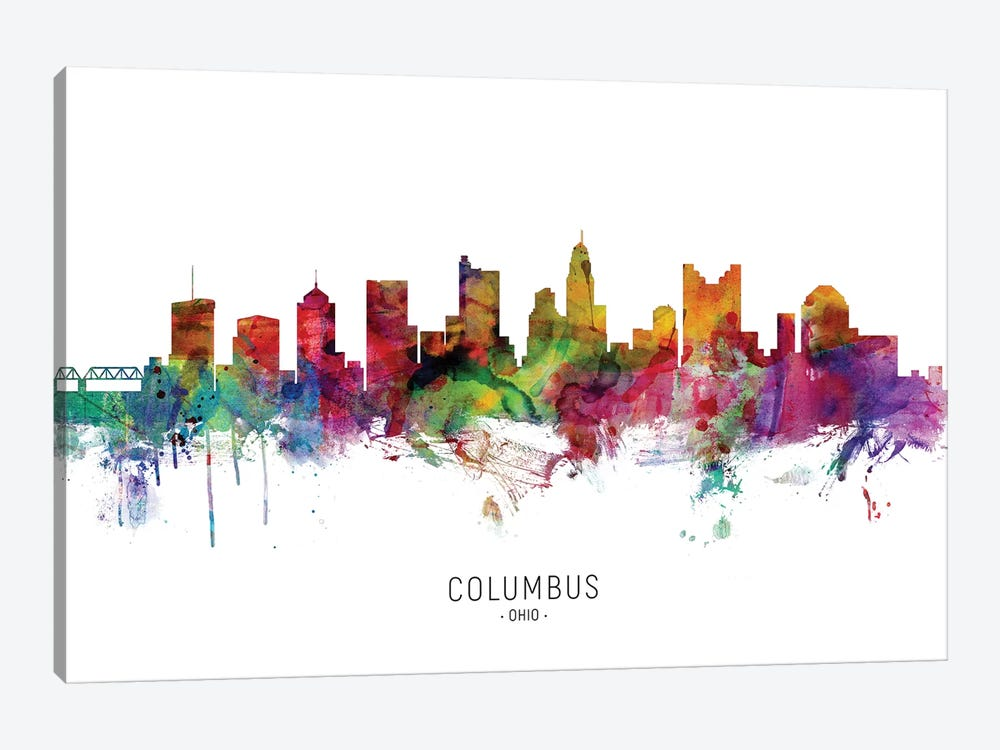 Columbus Ohio Skyline by Michael Tompsett 1-piece Canvas Wall Art