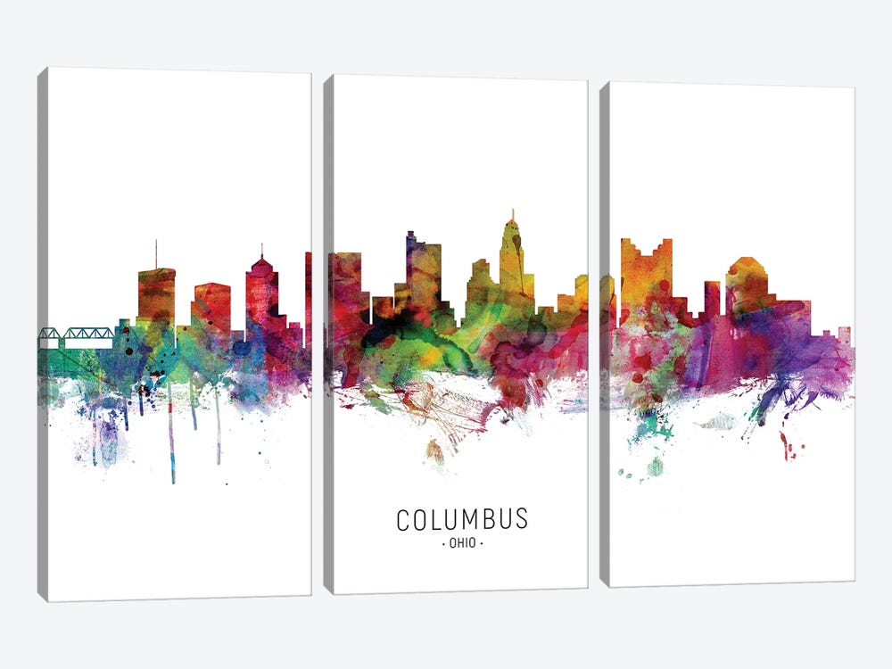 Columbus Ohio Skyline by Michael Tompsett 3-piece Canvas Art
