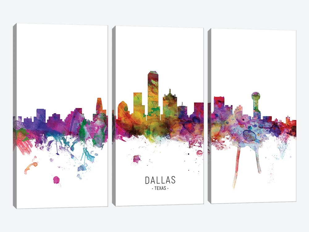 Dallas Texas Skyline by Michael Tompsett 3-piece Canvas Wall Art