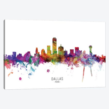 Dallas Texas Skyline Canvas Print #MTO1837} by Michael Tompsett Canvas Wall Art