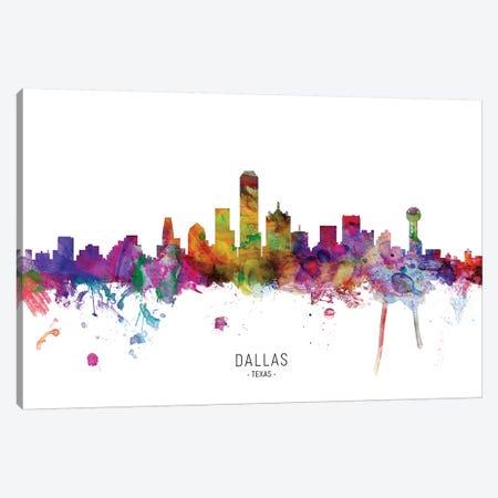 Dallas Texas Skyline Canvas Print #MTO1837} by Michael Tompsett Canvas Wall Art