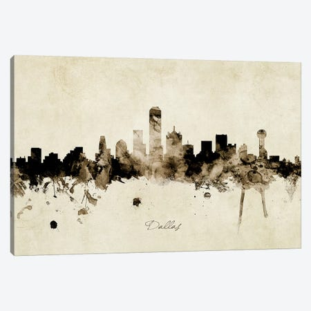 Dallas Texas Skyline Canvas Print #MTO1839} by Michael Tompsett Canvas Art Print
