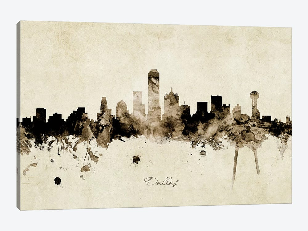 Dallas Texas Skyline by Michael Tompsett 1-piece Canvas Art