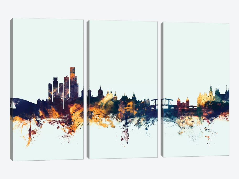 Skyline Series: Amsterdam, The Netherlands On Blue by Michael Tompsett 3-piece Canvas Art Print
