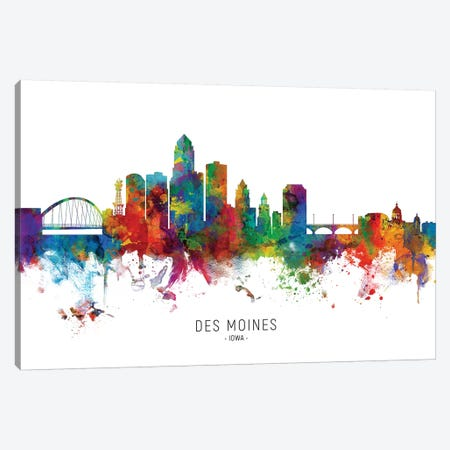 Des Moines Iowa Skyline Canvas Print #MTO1845} by Michael Tompsett Art Print
