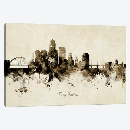 Des Moines Iowa Skyline Canvas Print #MTO1847} by Michael Tompsett Canvas Art Print