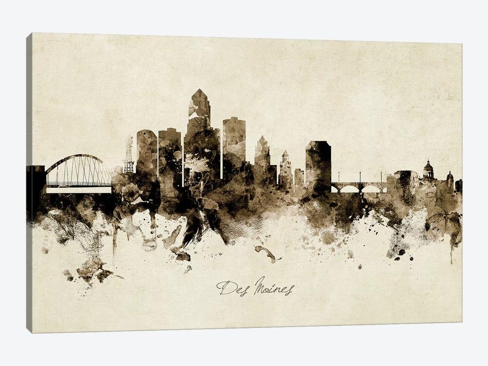 Des Moines Iowa Skyline by Michael Tompsett 1-piece Canvas Print