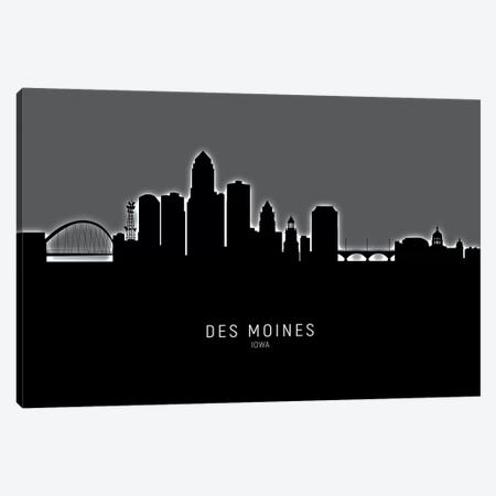 Des Moines Iowa Skyline Canvas Print #MTO1848} by Michael Tompsett Canvas Wall Art
