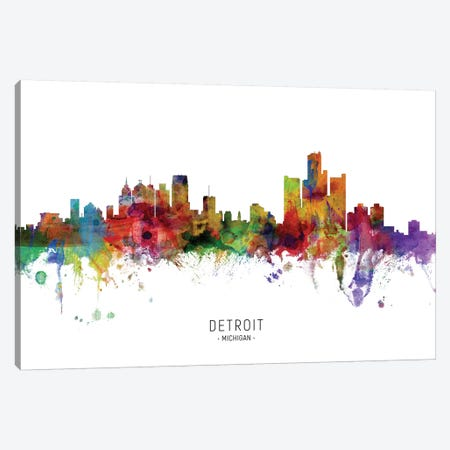 Detroit Michigan Skyline 3-Piece Canvas #MTO1849} by Michael Tompsett Canvas Wall Art