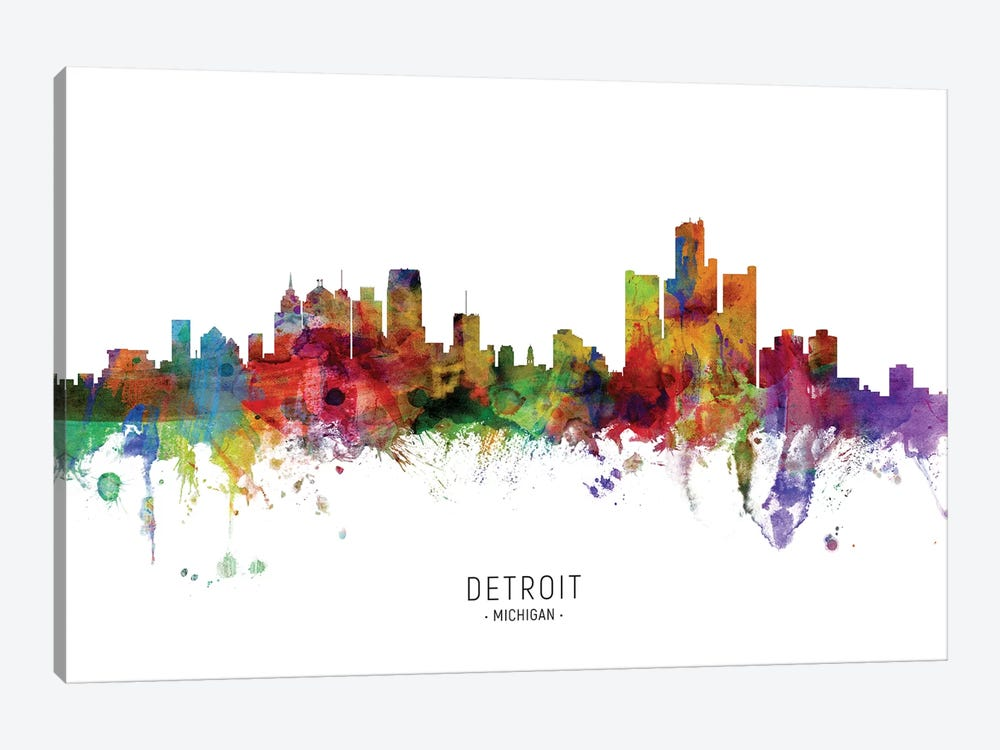 Detroit Michigan Skyline by Michael Tompsett 1-piece Canvas Print