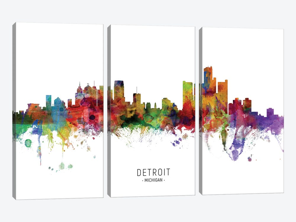 Detroit Michigan Skyline by Michael Tompsett 3-piece Art Print
