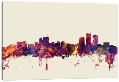 Anchorage, Alaska, USA On Beige Canvas Art Print