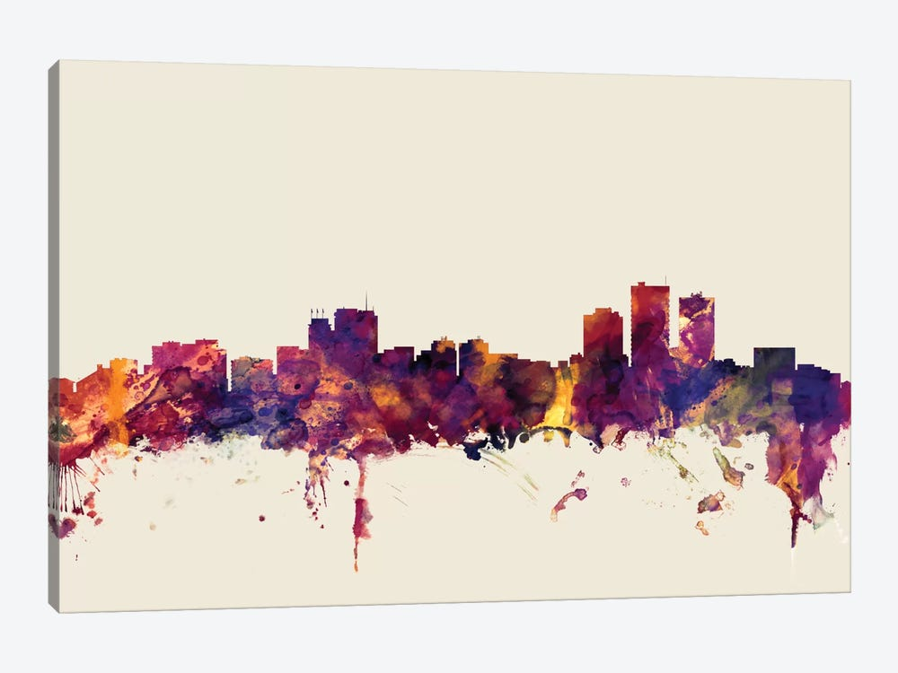 Skyline Series: Anchorage, Alaska, USA On Beige by Michael Tompsett 1-piece Canvas Artwork