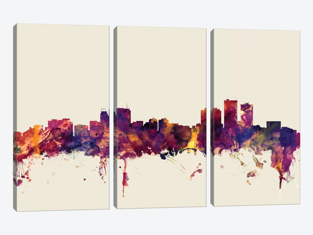 Skyline Series: Anchorage, Alaska, USA On Beige by Michael Tompsett 3-piece Canvas Artwork