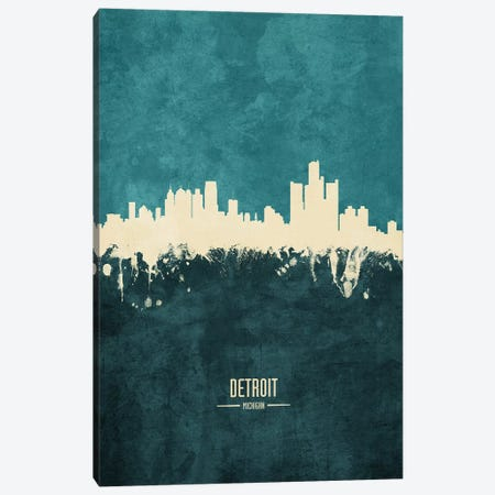 Detroit Michigan Skyline 3-Piece Canvas #MTO1850} by Michael Tompsett Art Print