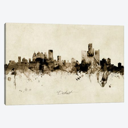 Detroit Michigan Skyline 3-Piece Canvas #MTO1851} by Michael Tompsett Canvas Print
