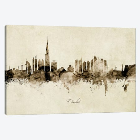 Dubai Skyline Canvas Print #MTO1854} by Michael Tompsett Canvas Artwork