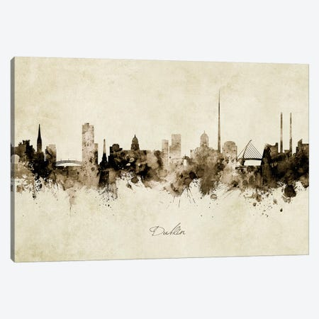 Dublin Ireland Skyline Canvas Print #MTO1859} by Michael Tompsett Art Print