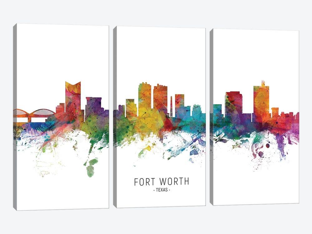 Fort Worth Texas Skyline by Michael Tompsett 3-piece Canvas Art Print