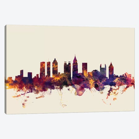 Atlanta, Georgia, USA On Beige Canvas Print #MTO186} by Michael Tompsett Art Print